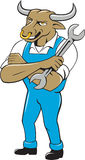 Bull Mechanic Spanner Standing Cartoon Stock Image