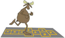 Bull moose playing hopscotch Stock Photography