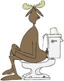 Bull moose on a toilet Royalty Free Stock Photo