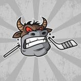 Bull morde a vara de hóquei Imagem de Stock