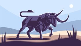 Bull in nature. Vector illustration Stock Images