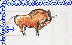 Bull painted on azulejos in Spain Stock Images