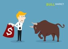 Bull que pisa en el mercado de acción Imágenes de archivo libres de regalías