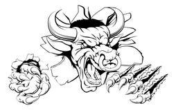 Bull que quebra através da parede Imagem de Stock