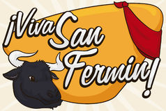 Bull and Red Handkerchief over Greeting Sign for San Fermin, Vector Illustration. Banner with a bull head peeking out and a red handkerchief over a yellow Stock Photo