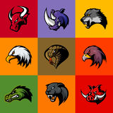 Bull, rhino, wolf, eagle, cobra, alligator, panther, boar head isolated vector logo concept. Stock Photo