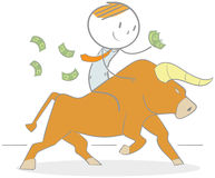 Bull Rider. Doodle illustration of a businessman holding money riding a bull Stock Image