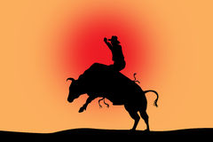 Bull riding black silhouette on red Stock Photo