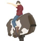 Bull Riding Man vector illustration