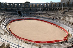 Bull ring in Roman Colisseum. Bull ring in old Roman coliseum.  Arles.  France Stock Image