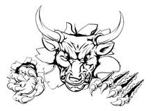 Bull ripping through background stock illustration