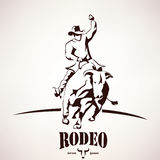 Bull rodeo symbol. Stylized vector silhouette Stock Images