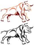 Bull run. Line art bull run image on isolated white background Stock Photos