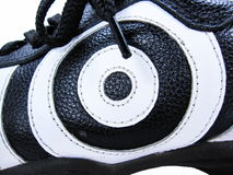 Bull's Eye. Isolated photo of shoe's side Stock Photography