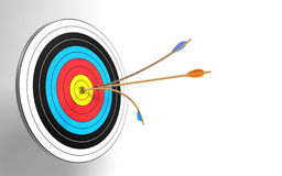 Bull's eye. Two arrows in the target Royalty Free Stock Image