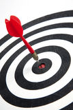 Bull's Eye. Of a dart hitting  the middle of dartboard Stock Photography