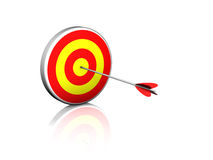 Bull's Eye. An arrow stuck in the bulls eye of a target. Pure white background, nice reflections Stock Photography