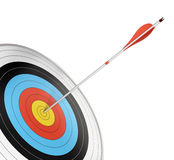 Bull's eye, aiming. Official competition target with a red arrow hitting the center. Angle of page, 3d render isolated over white background Stock Images