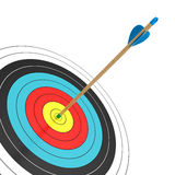 Bull's Eye!. An arrow in the bull's eye isolated on white background. Computer generated image with clipping path Royalty Free Stock Photo