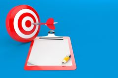 Bull`s eye with blank clipboard. Isolated on blue background Royalty Free Stock Photos