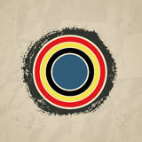 Bull's-eye on brushwork paper background, mondrian style. Stock Photography