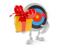 Bull`s eye character holding gift. Isolated on white background Royalty Free Stock Photo