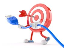 Bull`s eye character with network cable. On white background Stock Image