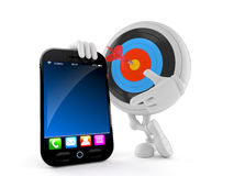 Bull`s eye character with smart phone. Isolated on white background Stock Image