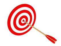 Bull's-eye. 3D image of arrow and target on white backround Stock Image