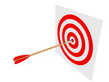 Bull's-eye. 3D image of arrow and target on white backround Stock Photo