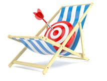 Bull`s eye on deck chair. Isolated on white background. 3d illustration Royalty Free Stock Photography