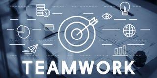 Bull`s Eye Goal Mission Icon Teamwork Concept. Bull`s Eye Goal Mission Icon Teamwork Stock Photography