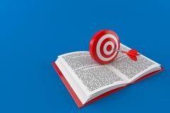 Bull`s eye on open book stock illustration