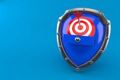 Bull`s eye with shield. On blue background Stock Images