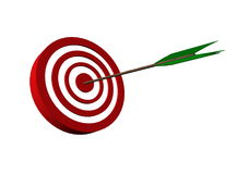 Bull's eye target with arrow. 3D digital render Royalty Free Stock Image