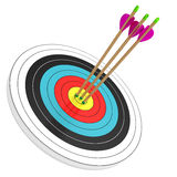 Bull's Eye!. Three arrows in the bull's eye isolated on white background. Computer generated image with clipping path Stock Images