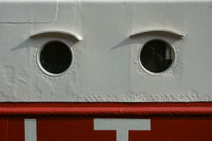Bull´s eye. Two bull´s eyes of a lightship Royalty Free Stock Photography