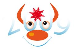 Bull's face. New Year's and Christmass collection of illustrations Stock Images