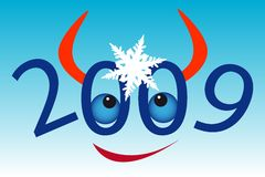 Bull's face with snowflake. New Year's and Christmass collection of illustrations Stock Image