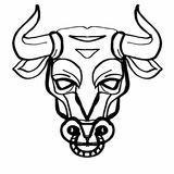 Bull`s head  illustration cartoon drawing coloring. Bull`s head  cartoon drawing and cartoon coloring drawing Stock Photography