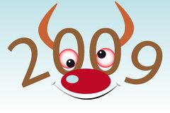 Bull's muzzle. New Year's and Christmass collection of illustrations stock illustration