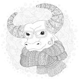 Bull  in a scarf and glasses. Royalty Free Stock Image