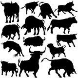 Bull Set Silhouettes stock illustration