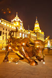 Bull at Shanghai bund. The bull statue(The symbol of bull market) at Shanghai bund(The finance street/The Oriental Wall street) - landmark of Shanghai, China Stock Photos