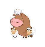 Bull & sheep - playfull farm. Bull catches two annoying sheep Stock Photography