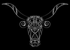 Bull. Silhouette of a bull`s head. Talisman, tattoo. A cow with big horns. Print on clothes, fabrics. Design element Royalty Free Stock Photo
