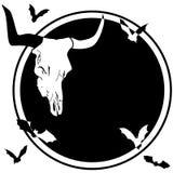 Bull skull and bats Royalty Free Stock Images