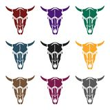 Bull skull icon in black style isolated on white background. Wlid west symbol stock vector illustration. Royalty Free Stock Photo