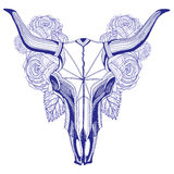 Bull skull and roses graphic pen Royalty Free Stock Images