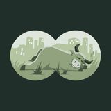 Bull sleeping. Illustration of a bull sleeping as seen through binoculars as a metaphor for the search for the bull market Royalty Free Stock Photos